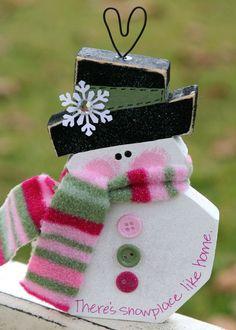 Cute wooden snowman