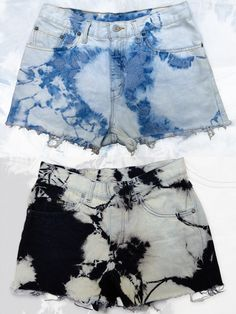 bleached denim cut off shorts