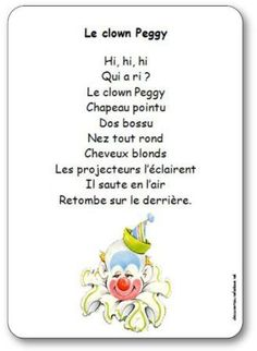 Comptine Le clown Peggy Le Clown, Elementary Schools, Back To School, Clowns, Poetry, Images, Health, Songs For Children, Circus Activities