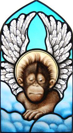 gebrandschilderd glas in lood, heilig aapje. stained glass, holy monkey