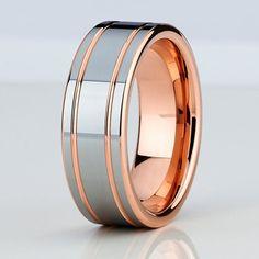 8mm Rose Gold Tungsten Mens Wedding BandTungsten by ChrisKdesigns