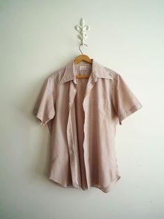 Mens Vintage Short Sleeve Brown Striped Shirt #mensvintage #rockabilly #1950s #stripes #shortsleeveshirt