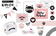 Kitty Cat Birthday Party Decorations, Adopt a cat party, Girls kitten party, Purrfect Party, Pretty Hello Kitty Birthday Invitations, Happy Birthday Signs, Birthday Party Invitations, Dr Seuss Birthday Party, Cat Birthday, Birthday Party Decorations, Funny Birthday, Kitty Party, Printable Invitations