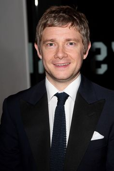 Martin Freeman, and wearing that tie that I am seeing, quite literally, everywhere. That is the Everything Is Illuminated tie! I don't care how many time's I've said it. That is where it comes from. Straight from the screen. But yeah, Martin Freeman's face and all together existence make's me happy. The way he plays your average Joe in films or whatever is just brilliant. Seriously. Ya gotta love this guy. Kittens + Rage = Martin Freeman.