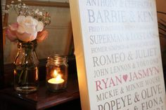 Personalised canvas- the perfect finishing touch of a gorgeous wedding.