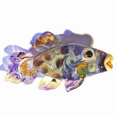 Purple Fish lampwork glass beads, handmade designer focal bead, pendant, necklace, CGGE team animal necklace, SRA by glassbead. $26.00, via Etsy.