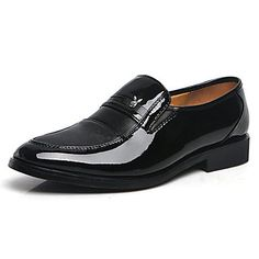 Mens Leatherette Black Shine Oxford Shoes