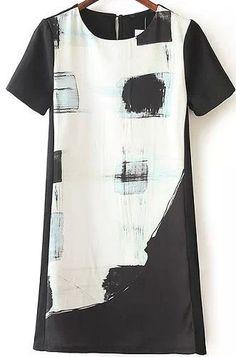Black White Short Sleeve Print Dress 19.17