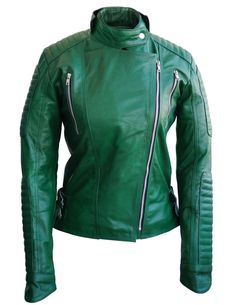 Leather Skin Green Brando W. Designer Leather Jackets, Green Leather Jackets, Blazers, Casual Night Out, Biker Chic, Leather Skin, Jackets Online, Vest Jacket, Jackets For Women