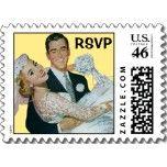 Vintage Wedding, Groom Bride, Newlyweds, RSVP Postage Stamps