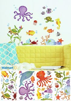 Decals range in size from 1 inches wide x 1 inches high to 9 inches wide x 9 inches high. #Ad Roommate, Under The Sea, Your Space, Wall Decals, Living Spaces, Kids Room, Range, Purple, Red