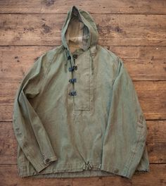 WW2 Military Vintage Navy Foul Weather Smock Jacket. Metal Clasps, Hooded. Mens Medium/Large. HW34