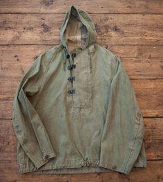 WW2 Military Vintage Navy Foul Weather Smock Jacket. Metal Clasps, Hooded. Mens Medium/Large. HW34
