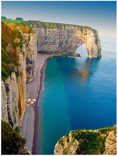 Etretat, upper Normandy, France - breathtaking beautiful... i have been here and eaten lunch on this beach after being at the cemetery in Normandy and it is so peaceful and calm!!