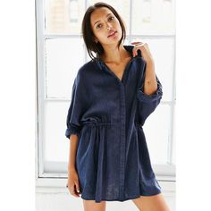BDG Modern Drawstring Shirt Dress ($50) ❤ liked on Polyvore featuring dresses, navy, blue dress, blue shirt dress, navy blue dress, long shirt dress and linen dress