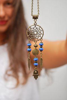 Dream Catcher necklace. DreamCatcher festival hamsa hand necklace, boho hippie pendant, namaste jewelry, good luck. Feather flower necklace.