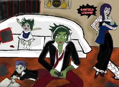 teen titans raven and beast boy kids | Beastboy and Raven by lesliemint