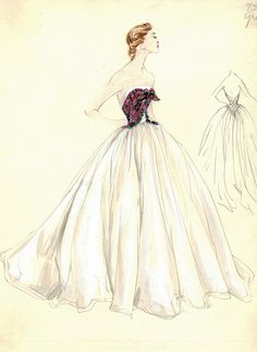 vintage dior pattern sketches | sketches from the Bergdorf Goodman archives, showcasing vintage ...