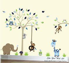 Ansprechende Childrens Wand Aufkleber set, ist sicher für jedes Kind bitte! Abmessungen: Baum 60 x 80 Breite hohe Baum Zweig 30 x 20 Breite hohe Elefant 28 x 20 Breite hohe Giraffe 18 Breite x 28 hohe * Wenn angewendet wie gezeigt Dieses Set beinhaltet: 1 Baum mit