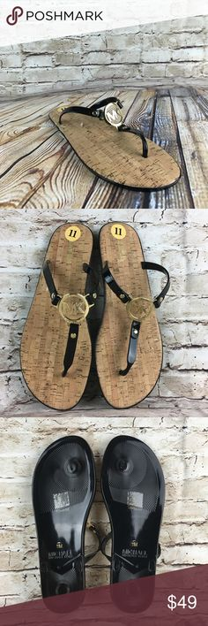 Michael Kors Black Jelly MK Sandals Sz 11 New without box. Michael Michael Kors Black Jelly MK Gold Logo Charm Flip Flop Sandals Sz 11 Michael Kors Shoes Sandals