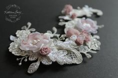 R950 Kathryn hairpiece Lace  Bridal #wedding #accessories #pink #dustypink flower lace comb by KathleenBarryJewelry