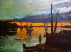 """""""The Golden Hour, Port Clyde, Maine,"""" by Walter Bartman, 2012, oil, 24 x 36 in."""
