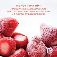 Frozen strawberries have all of the same health benefits as fresh strawberries! Freezing strawberries is a great way to store them during the winter months. Use them in baked goods, smoothies, and more! Freezing Strawberries, Frozen Strawberries, Strawberry Benefits, Strawberry Nutrition Facts, Fruit Facts, Frozen Fruit, Healthy Recipes, Healthy Foods