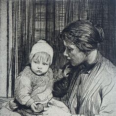 Early 20th Century Drypoint of a Mother and Child by William Lee Hankey