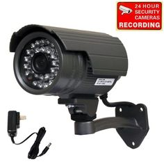 VideoSecu Bullet Outdoor CCD Security Camera Day Night 24 IR Infrared LEDs with Free Power Supply 1SI