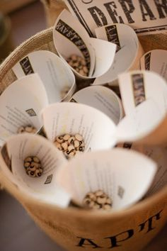 Tossing black eyed peas at the bride and groom for good luck! Wish I had thought of this!