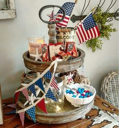 July Tiered Tray decoration ideas to glam up your home in Patriotic Spirit - Hike n Dip Fourth Of July Decor, 4th Of July Decorations, July 4th, Memorial Day Decorations, Office Decorations, Galvanized Tray, Independance Day, Tiered Stand, Tiered Server