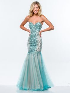 New Charming Rhinestones Turquoise Mermaid/Trumpet Sweetheart Neckline Floor Length t Prom Dress