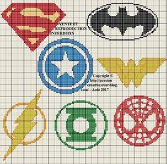 Grille gratuite point de croix : Emblèmes des supers héros - Passion creative
