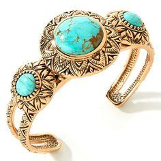 "Studio Barse Turquoise Bronze 7"" Cuff Bracelet"