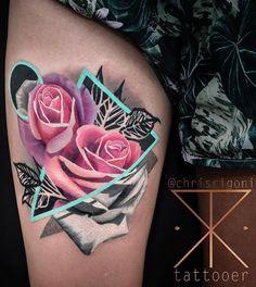 Pink Rose on Leg Tattoo