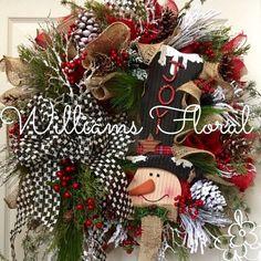 Christmas Wreath, Winter Wreath, Snowman, Country, Rustic, Burlap, Mesh Wreath…