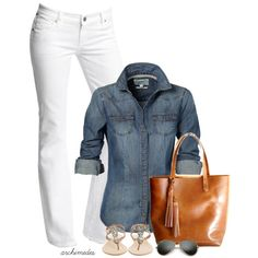 A fashion look from August 2014 featuring shirts & tops, white denim bootcut jeans y sparkly sandals. Browse and shop related looks.