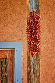 Ristra and Door by Nikolyn McDonald Wooden Architecture, Architecture Details, Southwestern Style Decor, Alcohol Ink Tiles, New Mexico Style, Santa Fe Style, Mexico Art, Land Of Enchantment, Spanish Revival