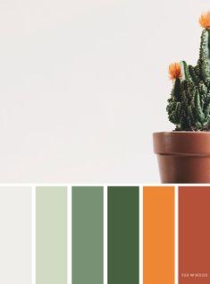 Green orange and terracotta color palette, color scheme
