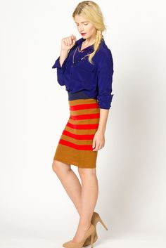 Striped Sweater Pencil Skirt in Camel/Red | a-thread