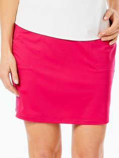 "Check out what Loris Golf Shoppe has for your days on and off the golf course! Belyn Key Ladies & Plus Size Keystone Jersey 18¾"" Outseam Pull On Golf Skorts - MADRID (Raspberry)"
