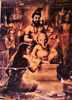 Ganapati with Elephant Head by Father Shiva and Mother Parvati Ganapati reincarnation Shiva Parvati Images, Shiva Hindu, Shiva Art, Lord Krishna Images, Shiva Shakti, Hindu Deities, Ganesha Art, Krishna Art, Hindu Art