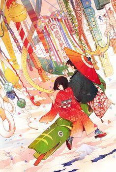 anime girl and anime boy in kimono