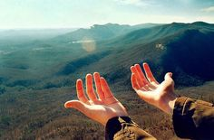 hands, mountains, adventure