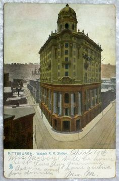 1910 Pittsburgh PA Wabash Railroad Station Postcard, Antique Vintage by OakwoodView, $7.00