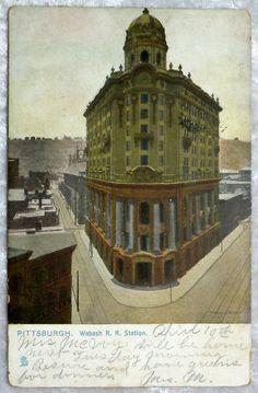 1910 Pittsburgh PA Wabash Railroad Station Postcard