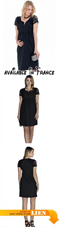 B06XPLTFZ8 : Petite robe noire de grossesse. robe de grossesse habillée|robe de grossesse pour sortir|robe de grossesse manches courte|robe de grossesse dentelle