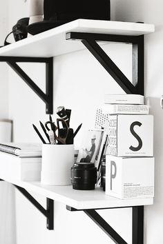 The Design Chaser: Workspace Storage | Ideas + Inspiration. Ikea shelf and wall brackets