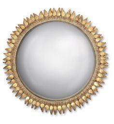 LINE VAUTRIN (1913-1997) MIROIR 'CHARDON', VERS 1955 De forme circulaire, le miroir sorcière, l'encadrement en talosel beige incrusté de fragments de miroir doré Diamètre : 38,5 cm. (15 1/8 in.) Signé LINE VAUTRIN XII au dos