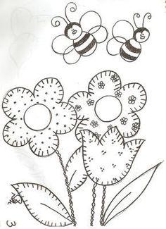 Dibujo flores y abejas
